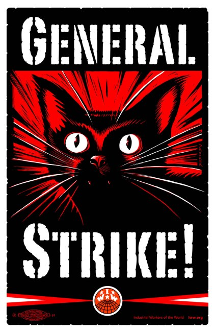 "International Workers of the World (IWW) Sabo Cat tells us to ""Strike!"" Illustration by Eric Drooker, licensed under a Creative Commons Attribution-NonCommercial-ShareAlike 3.0 Unported License."